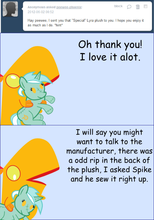 peewee-phoenix:   Poor Lyra, the people who made all these plushies are bad at what they do, there's large holes on I think every one of them… I think they need a new talent.  ~Peewee