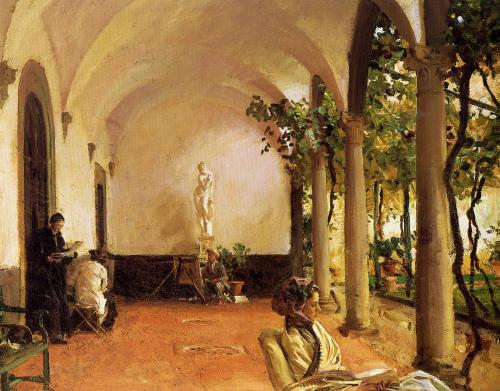 John Singer Sargent, Breakfast In The Loggia, 1910. Oil on canvas, 52.1 x 71.1 cm.   Freer Gallery of Art, Smithsonian Institution, Washington, D.C.  http://uploads5.wikipaintings.org/images/john-singer-sargent/villa-torre-galli-the-loggia-1910.jpg