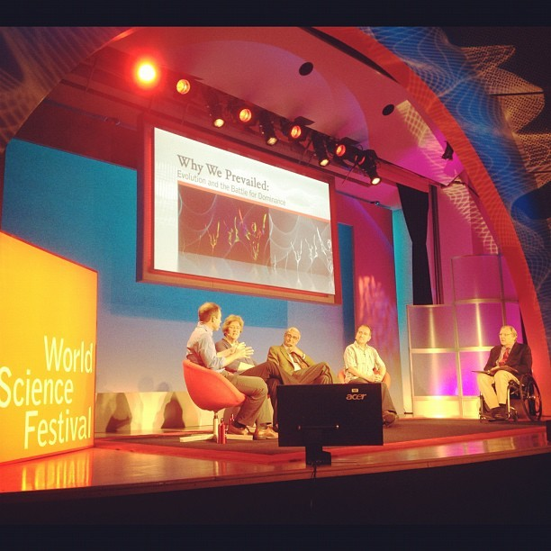 That's rockstar E.O. Wilson in the middle #wsf12 #nyc #science (Taken with instagram)