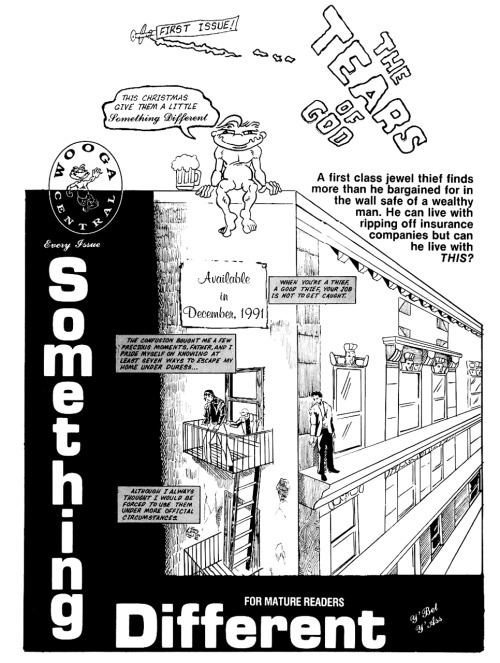 Promotional ad for Something Different #1 by Richard Cusick and Michael Mangan, 1991.