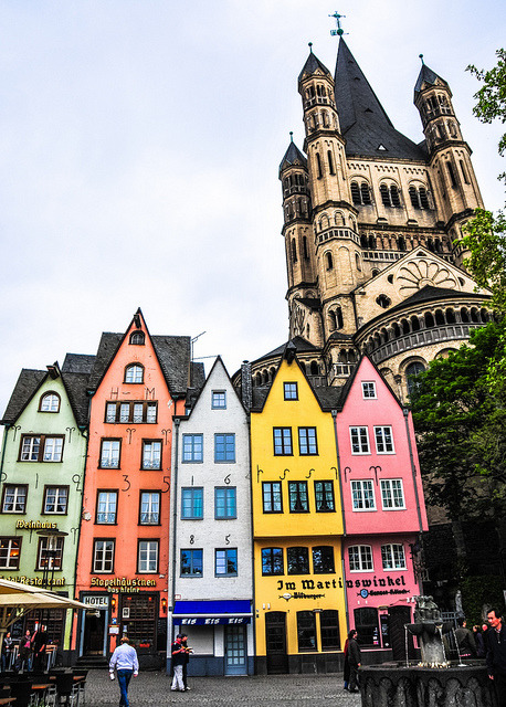 Groß Sankt Martin and Altstadt in Cologne Germany by mbell1975 on Flickr.