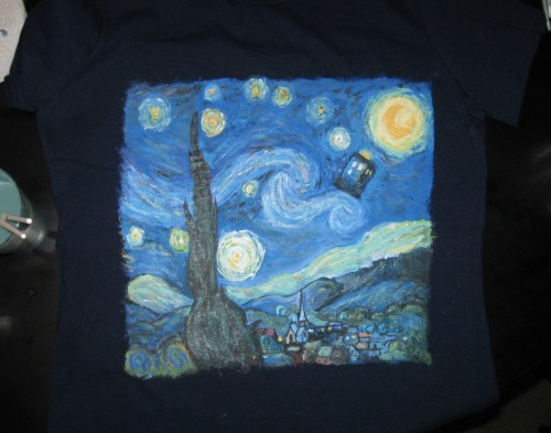 This is a version of Starry Night by Van Gogh with the TARDIS and it painted on a T-Shirt using fabric paint (and a little puffy paint)  submitted by ladyknight1991