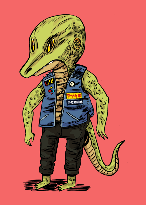 citriccomics:  Here's a lizardman I drew to try out a new brush, and then decide to color it