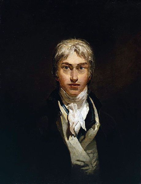 J.M.W. (Joseph Mallord William) Turner was an eccentric English Romantic landscape artist who found beauty in the subjects of shipwrecks, fires (such as the burning of the Parliament in 1834, an event which Turner rushed to witness first-hand, and which he transcribed in a series of watercolour sketches), natural catastrophes, and natural phenomena such as sunlight, storm, rain, and fog. He was fascinated by the violent power of the sea, which can be seen in quite a few of his paintings. His portrayal of light in his paintings is beautiful and his self portrait of himself portrays him as pretty sexy too ;)