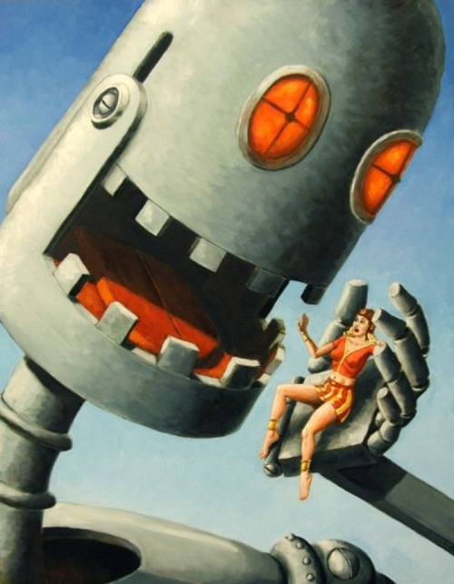 tumblrbot:  sciencefictiongallery:  Pretty Girls and Robots by Bill Zeman  OKAY THAT'S MY COUSIN AND HE'S NOT AS MEAN AS IT LOOKS HERE