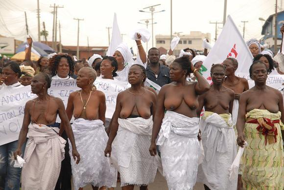 thepeoplesrecord:  African women have traditionally used their bodies as a form of protest for generations. Many have used the threat or actual act of nakedness/undress as a form of effective political protest for centuries. In Nigeria for instance, most believe that their mother's bodies are to be revered. As such, it is taboo for a woman, and particularly a married or older woman, to choose to disrobe in reaction to a social/political situation. In the 1930s, members and supporters of the Abeokuta Women's Union walked naked in protest of the Alake of Abeokuta's political actions and forced him into exile. In 2001, a team of scientists abandoned their research after naked Kenyan women descended on their facility. Similarly, in 2006, female South African prisoners staged a setshwetla - naked protest - to prevent their relocation to another prison facility.