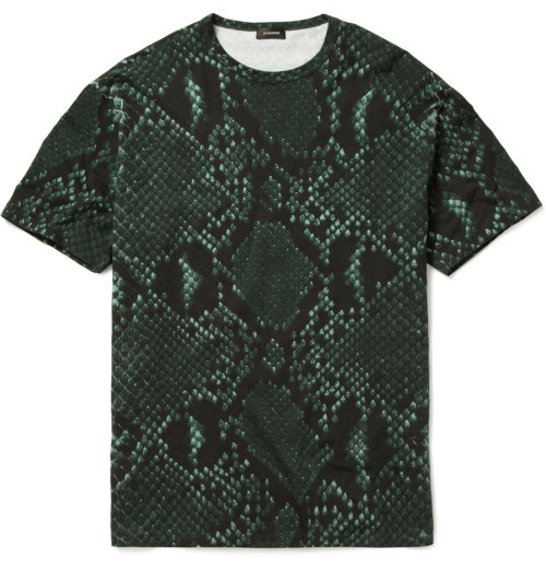 Jil Sander's Green and Navy Python Print Cotton Blend T-Shirt $290