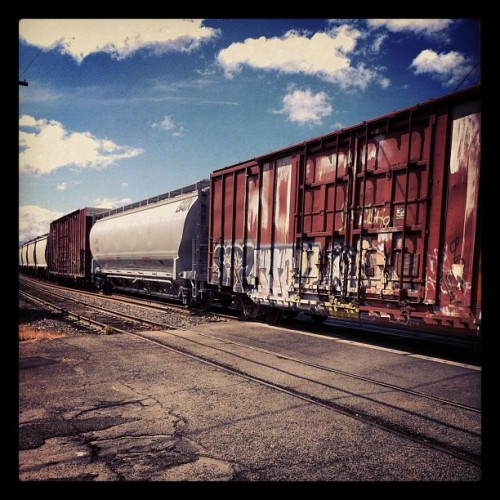 #trains #graffiti #sky #clouds #blue #rail #eugene  (Taken with instagram)