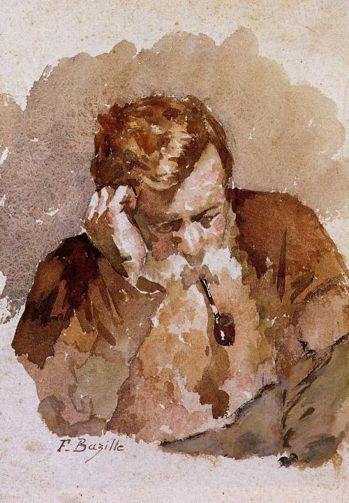 cavetocanvas:  Frédéric Bazille, Man with a Pipe, n.d.