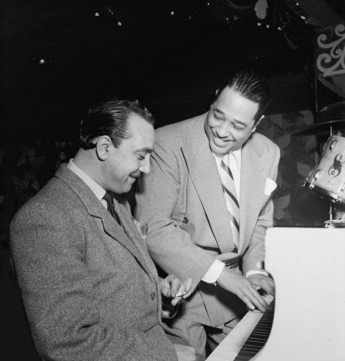 awesomepeoplehangingouttogether:  Django Reinhardt and Duke Ellington