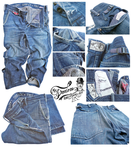 "christopheloiron:  Original Rider's Dungarees from Mister Freedom® MFSC 2009 'Speed Safe' Collection, back from a year long tour around the World in 2009 with the ""Dirty Dozen + two"" alternating wear. Thanks for the mileage guys ;-)"