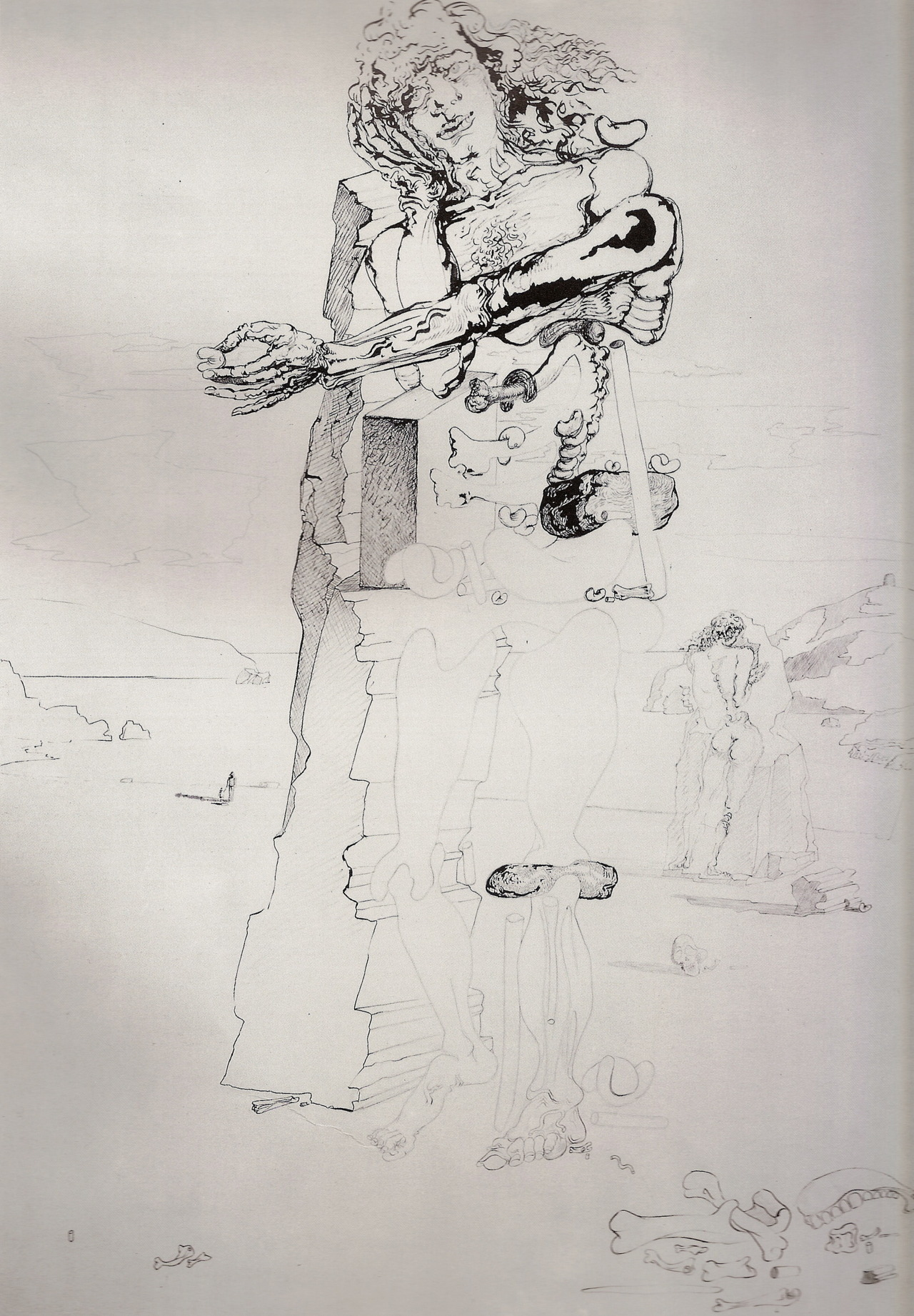 arte-de-ayer:  S. Dalí, Surrealist Figure in Landscape of Port Lligat, ink; 1933