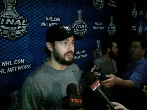 Drew Doughty in a Blue Jays hat at the Stanley Cup final