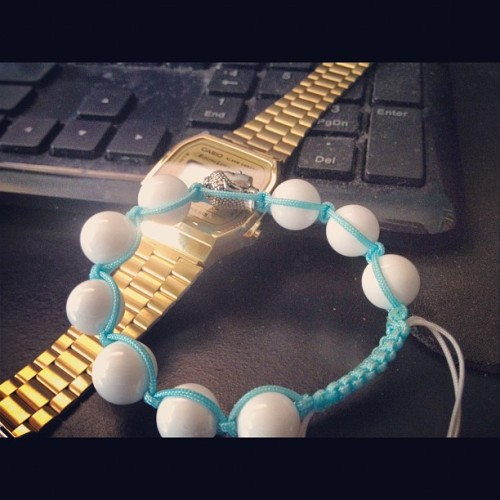 Weekend wrist wear. Shout out to @hi_cord! Hit em up for a custom shamballa!! #shamballa #casio #retro  (Taken with instagram)