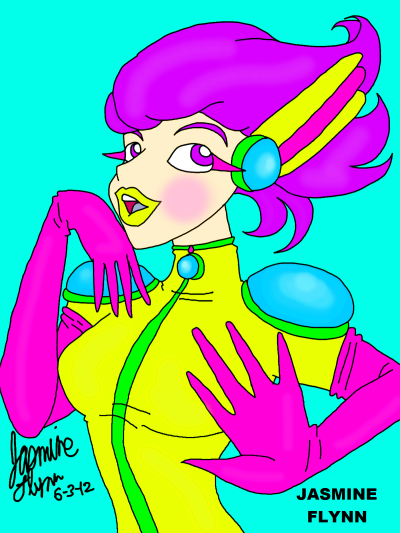 Bright Colored Ranger Girl. a digital drawing by me, Jasmine Flynn :)