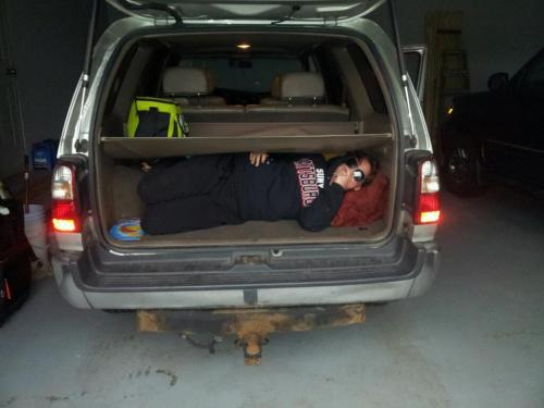 ladiesdrinkvodka: Oh look! Here I am, laying in my friend's trunk to sneak into the drive-in. Skill. Aw yeah. :)