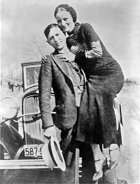 fyeah-history:  Bonnie Parker and Clyde Barrow, sometime between 1932 and 1934, when their exploits in Arkansas included murder, robbery, and kidnapping.During the Depression bankers became so unpopular that bank robbers, such as Bonnie and Clyde, became folk heroes.