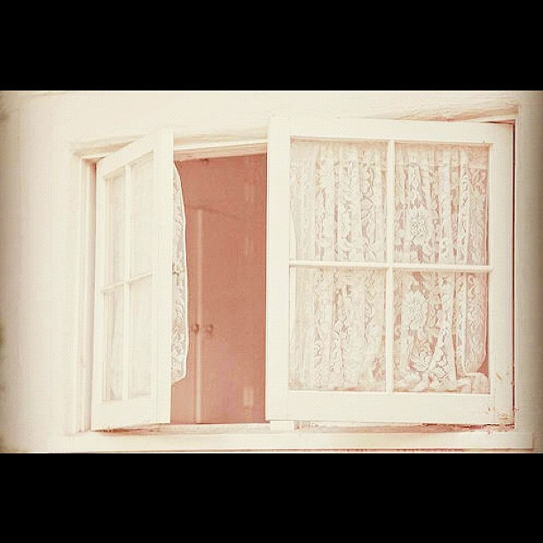 westartariot:  Pretty window. #pink #window #lace #shades #curtains #landscape #instagram #instafun #instadaily #instaddict #iphonegraphy #girls #pretty #view (Taken with instagram)