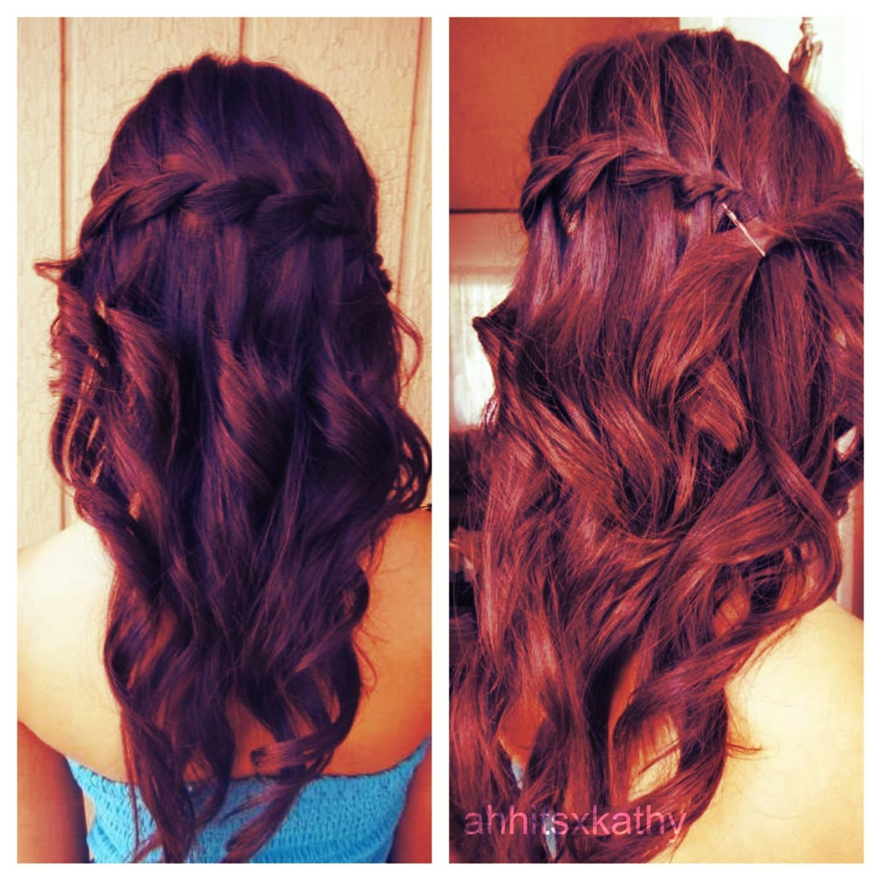 fuckyeahbraids:  waterfall braid with curls  ahhitsxkathy
