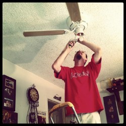 Matt installing our new fan yay  (Taken with instagram)