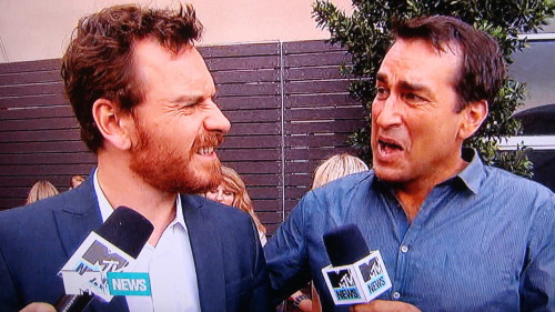 "danceyrselfclean:  Bearded Fassy and Rob Riggle reaction shot after MTV dude Josh Horowitz said ""Is it true that the big secret is that Prometheus is the name of your penis?""  Oye."