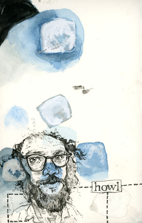 Sketchbook page with Allen Ginsberg