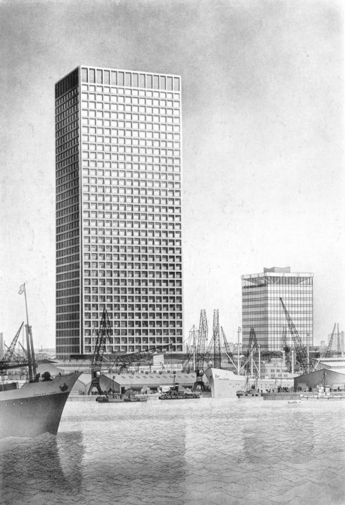 fuckyeahbrutalism:  Office Building, Rotterdam, Netherlands, 1967 (Skidmore, Owings & Merill)  Gorgeous drawing. These 1960s ships look so quaint compared to a modern container port.