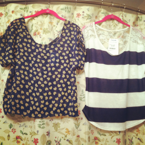 6/3/2012 Shirts from Marshalls Striped- $9.99 Hearts- $12.99   (again…sorry about the shower curtain)