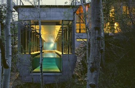 carex:  A lap pool terminates in glass at the Farrar Residence in Park City, Utah. Designed by architectural firm Bohlin Cywinski Jackson.