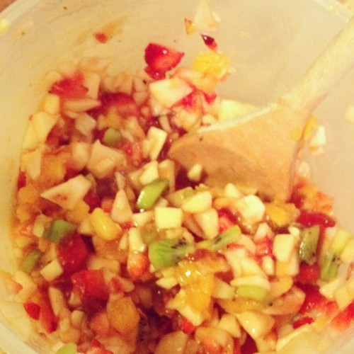 Strawberry salsa, practically 0 cal! (Taken with instagram)