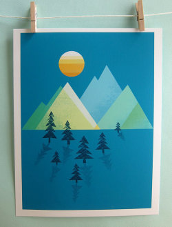 allthemountains:  (via The Sun Sets Print by automatte on Etsy)