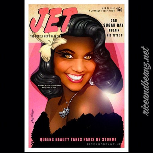 """Jet Magazine"" pinup portrait of Barbara O. from Queens NY.  Thanayi wanted to surprise her big sister Barbara with a unique birthday gift to celebrate her 50th. She requested a vintage styled pinup. She also wanted me to make her sis look a bit younger. Being inspired by many of the 1950's Jet magazine covers I've recently posted, my desire was to take advantage of that concept and recreating her personal Jet Magazine cover.  Unfortunately too many of the vintage cover tag lines were politically incorrect and are very offensive to both black and white audiences by today's standards. Although I wanted to keep the art closely authentic to those original covers, I had to remember that this artwork is to hang on someones home to display before their family, not in a museum to shock the audience. The tag lines had to be tweaked ,cleaned, and digestible. This piece has to be seen in person. l am very happy with it.  -Santiago- —  _________________________________________  #Portrait #Commission #JetMagazine #blackpinup#pinup #illustration #art #paint #fineart #painting #Santiago #Riceandbeanz (Taken with instagram)"