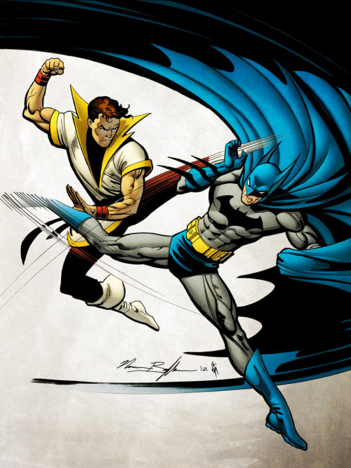 comicsforever:  Batman Vs Karate-Kid // artwork by Norm Breyfogle and Simon Gough (2012)