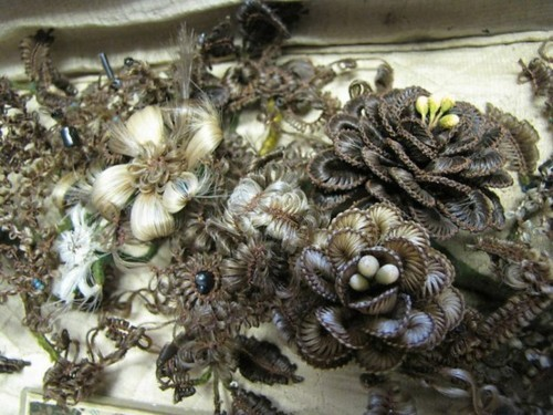 ornamentedbeing:  Portion of a Victorian hair wreath.