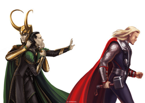 nightmareloki:  the-loki-army:  cassagram:  The Avengers - Don't go by =maXKennedy Oh my god. The heartbreak.  This is absolutely beautiful. The cold, power-hungry persona Loki created holding back the Loki that just wants the love and affection of his brother. It's the conflict within him, literally drawn out. It's gorgeous, and I want this hanging in my bedroom.  Dear God, this actually made me feel very sad. Holy crap. This is beautiful