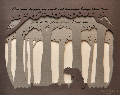 Rue's Lullaby. Hand-cut paper illustration of Katniss Everdeen and Rue from Suzanne Collins' The Hunger Games featuring lyrics from Rue's Lullaby. Click through for detail photos and more from my Etsy shop!