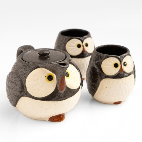 Love tea and owls, or know someone who does? Well, check out this super cute owl teapot set! Its a ceramic Japanese teapot with a built-in strainer and comes with two matching cups. It can all be yours for $57.99.
