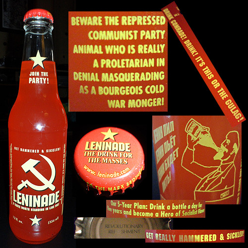 "004. Leninade Per 12oz bottle:…150 calories…38g sugar…35mg sodium Ingredients:Carbonated water, cane sugar, citric acid, gum acacia, natural and artificial flavor, glyceryl abietate, sodium benzoate, artificial color, and the joy of the workers. About:Leninade (Russian: Ленинад) is a soda based on lemonade made by Real Soda In Real Bottles, Ltd. The name is a portmanteau of ""Lenin"" and ""lemonade."" The slogans on the bottle make fun of old Soviet propaganda slogans. In addition, the soda is colored bright red, the traditional color of Communism. (Wikipedia) Website: http://leninade.realsoda.com/ Impressions:Bleh. Underwhelming, and a shame because this had potential to be a great drink. Essentially a watered-down lemonade with carbonation and an unpleasant aftertaste, I found myself taking only four sips before I gave up on it. Simply, a hilarious bottle but a pretty lousy drink."