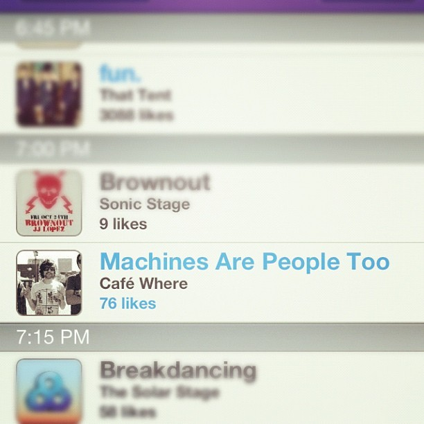 colesweeton:  Go download the @bonnaroo app and 'like' @machinesarepeopletoo (@m_R_P_2). Show some love! (Taken with instagram)
