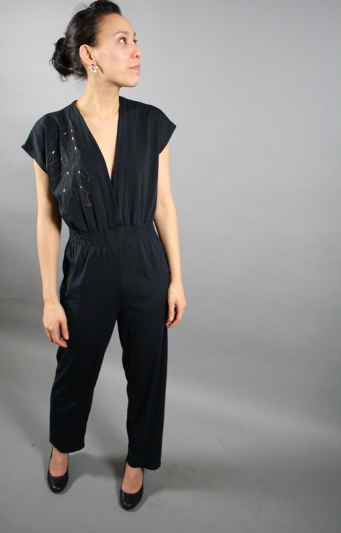 vintage 1970s jumpsuit black leaf pattern gold one piece outfit. Awesome black jumpsuit with gold leaf pattern. $32