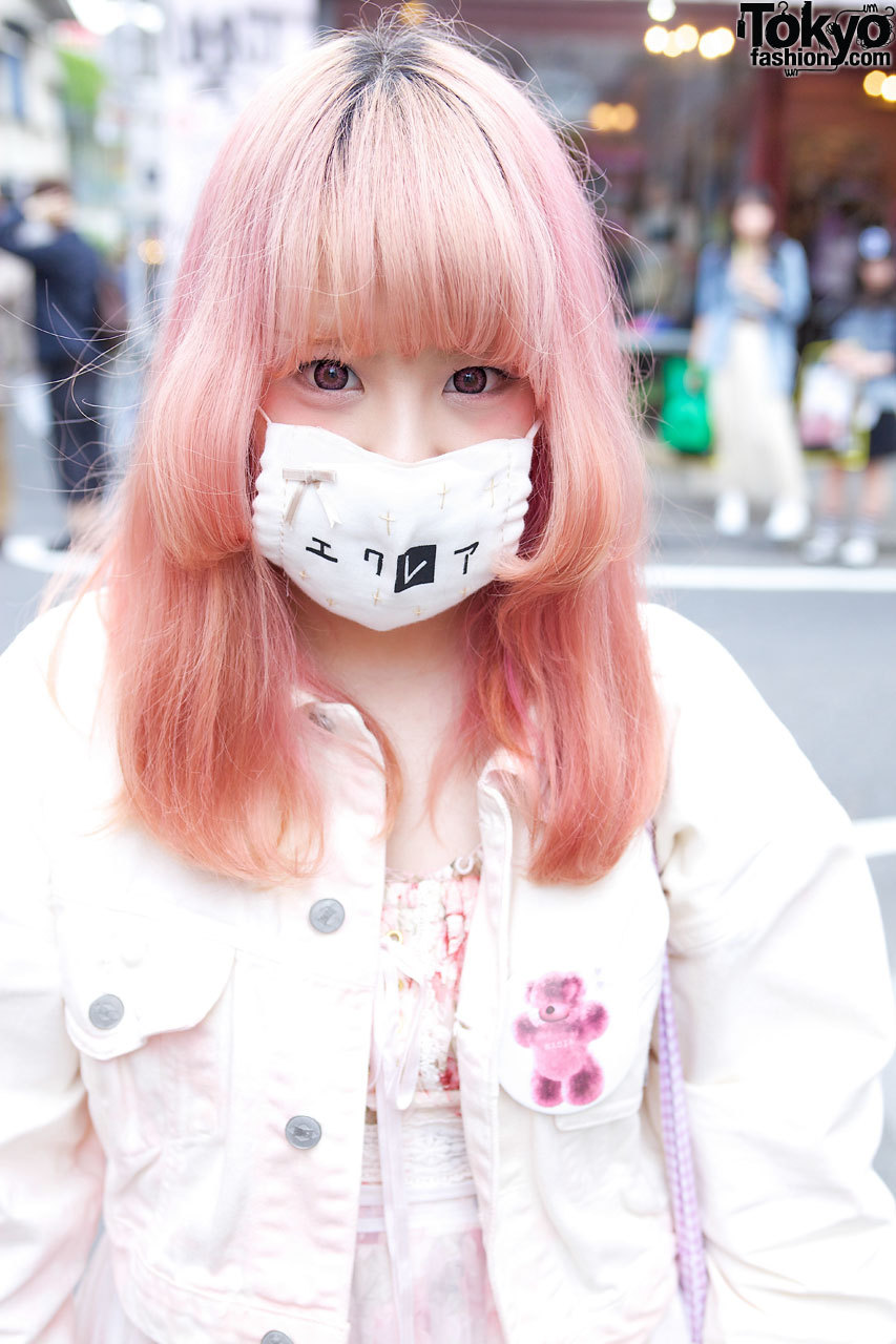 Awesome pink hair with fashion from The Virgin Mary & Meno in Harajuku.