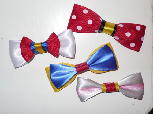 DISNEY BOWS!!! My Sorority and My Disney side have finally reconciled!! gostephanie:  Look at this fun giveaway! I like making bows and I like making people happy and I like winning things so here's a giveaway of some Disney themed bows! There Minnie Mouse, Donald Duck, Snow White, and Dumbo bows, all for free if you win! Woah! So cool! Here are some rules!1. You should follow me because I like new friends. You can unfollow me after the winner is announced, but you probably won't want to because I'm hilarious sometimes.2. You should also follow my fan blog for the greatest band ever, Lady Danville. Posts don't happen too often on there so you won't be spammed, but you'll learn to love it when they do happen because they're cuties and they sing wonderfully. I just want everyone to love them.3. LOOK AT MY ETSY BECAUSE I SELL BOWS ALL THE TIME.3. I'll ship it anywhere because I'M SO GIVING.4. The giveaway ends June 19th (because of Texas. Google it) at 11:59 PM Central time. 5. You don't have to, but you can also check out my giveaway of Starkid bows if you like them and if you don't like them then you should start liking them.5. If you have any other questions, ask me unanonymously. Don't ask on anon though because I won't answer it probably. I pinky promise I'm really nice.  ONE MORE THING. Only reblog this twice. Don't make everyone hate you by reblogging it more than that. Likes don't count. Sorrrry.