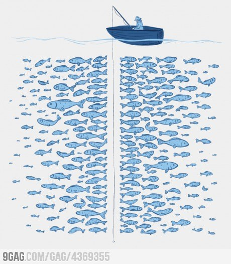 9gag:  They said there're plenty of fish in the sea…