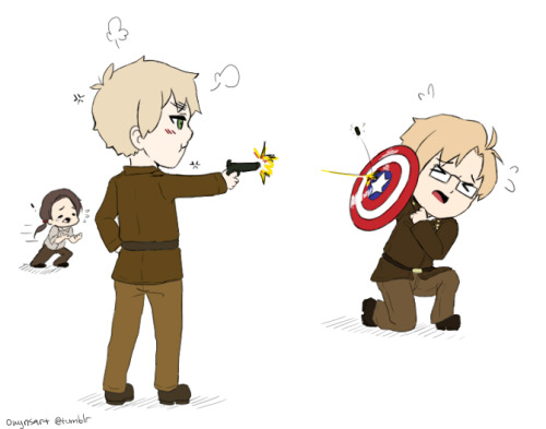 accioharo:  owynart:   accioharo asked owynart: America as Captain America and England as Peggy Carter? Movieverse. Bonus if you put England in Peggy's exact outfit, except make the skirt pants. XD  I thought this scene was much more USUK-like for me, but if you'd like I can always draw another picture! Enjoy! I'll be redrawing your request, apparently my hands with to work now!  I'll keep it up, but this is the 'warm up'/crack!   THIS ONE IS ADORABLE AS WELL. They are perfect for this scene. Silly, silly, lovely boys. <333 and lol at China. XD