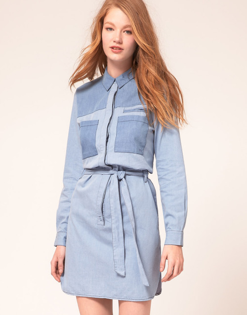 Le Mont St Michel 2 Tone Denim Shirt DressMore photos & another fashion brands: bit.ly/JhIqT0