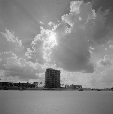 Clouds over a hotel in Daytona Beach, FL