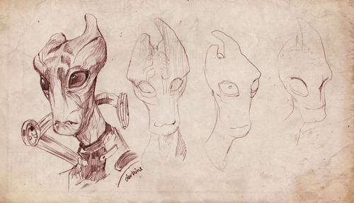 derlaine:  Sketching some Mordin while I wait for the Mass Effect Multiplayer to load. Mordin is one of my favorite characters, his smart, snappy dialog and character really impressed me.