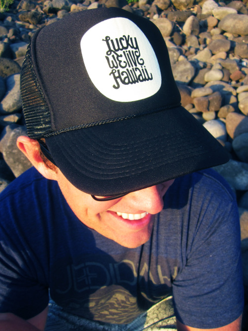 N E W : Hat Design, LUCKY WE LIVE HAWAII. Original hand illustrated graphic :)