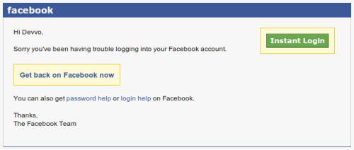 littlebigdetails:  Facebook - If you try to log in with a wrong password, Facebook will send you an email with an Instant Login link. /via Hannes Struß   This is incredibly insecure as what if someone has access to your email and tries to login to your Facebook? They get a magic door