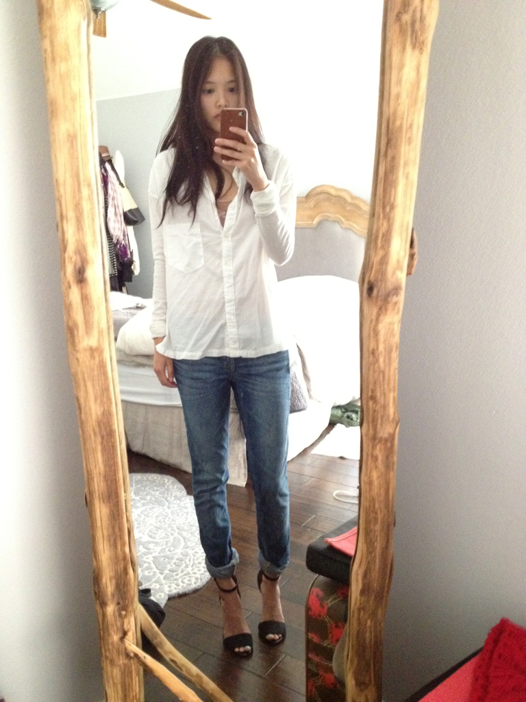 a short lunch break outfit from studying. ignore the dirty mirror…